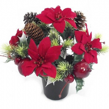 Christmas Grave Pot - Red and Green